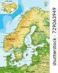 scandinavia relief map | Shutterstock .eps vector #729063949