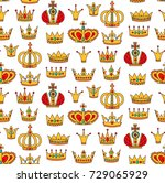 royal crowns doodle colorful... | Shutterstock .eps vector #729065929