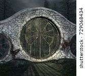 old gate in a dark forest   3d... | Shutterstock . vector #729068434