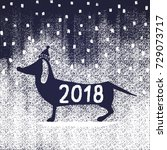 Stock vector christmas card drawn in chalk silhouette of a dog in a hat with the text happy new year 729073717