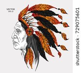 man in the native american... | Shutterstock .eps vector #729075601