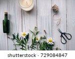mood flowers scissors rope on a ... | Shutterstock . vector #729084847