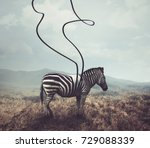 A Surreal Image Of A Zebra And...