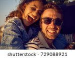 happy smiling couple in love   Shutterstock . vector #729088921