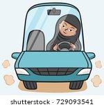 a saudi arabian woman wearing a ... | Shutterstock .eps vector #729093541