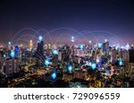 Small photo of pin flat above night cityscape and glowing networking connection as communication concept
