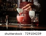 barman in apron is making... | Shutterstock . vector #729104239