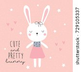 cute and pretty bunny vector... | Shutterstock .eps vector #729105337