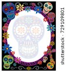 day of the dead border with... | Shutterstock .eps vector #729109801