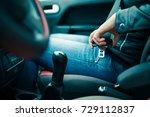 passenger woman fastening seat... | Shutterstock . vector #729112837