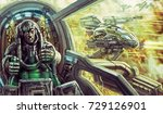 tanker in a spacesuit inside... | Shutterstock . vector #729126901