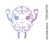 line kawaii cute happy brain... | Shutterstock .eps vector #729134791