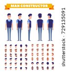 young man character constructor.... | Shutterstock .eps vector #729135091