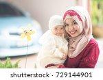 muslim indonesian family mom... | Shutterstock . vector #729144901