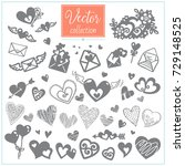 hearts and envelopes. big... | Shutterstock .eps vector #729148525