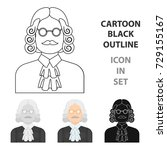 a judge in a wig and glasses. a ... | Shutterstock . vector #729155167