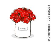 beautiful red flower white box... | Shutterstock .eps vector #729165235