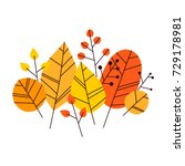 hand drawn vector autumn leaves ... | Shutterstock .eps vector #729178981