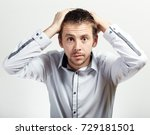 scared and surprised man... | Shutterstock . vector #729181501