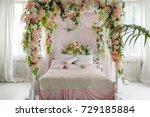 honeymoon suite with canopy bed ... | Shutterstock . vector #729185884