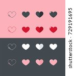 set of icons of hearts of... | Shutterstock .eps vector #729191695
