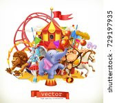 circus  funny animals. elephant ... | Shutterstock .eps vector #729197935