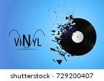 vinyl record exploded into...   Shutterstock .eps vector #729200407