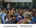 audience listens to the... | Shutterstock . vector #729201151