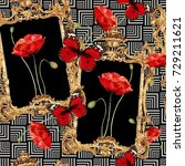 baroque and flowers pattern.for ... | Shutterstock . vector #729211621