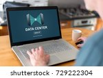 man using a laptop with data... | Shutterstock . vector #729222304