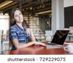 young beautiful girl working... | Shutterstock . vector #729229075