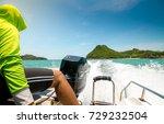 on speed   boat   Shutterstock . vector #729232504