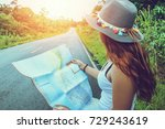 asian women travel relax in the ... | Shutterstock . vector #729243619