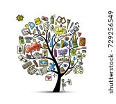 school of drawing  art tree for ... | Shutterstock .eps vector #729256549