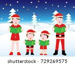 children's christmas concert. | Shutterstock .eps vector #729269575