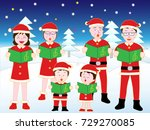 christmas concert with family. | Shutterstock .eps vector #729270085
