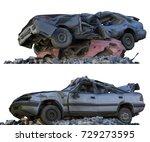 3d illustration heaps of rubble ... | Shutterstock . vector #729273595