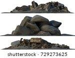 3d illustration heaps of rubble ... | Shutterstock . vector #729273625