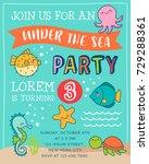 cute cartoon marine life... | Shutterstock .eps vector #729288361