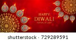 happy diwali festival card with ... | Shutterstock .eps vector #729289591