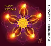 happy diwali. diya   oil lamps... | Shutterstock .eps vector #729292741