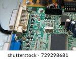 part of computer chip | Shutterstock . vector #729298681