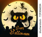 halloween black cat moon night... | Shutterstock .eps vector #729306034