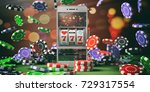Online casino gambling concept. Slot machine on a smartphone screen, poker chips and abstract background. 3d illustration - stock photo