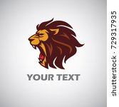 angry lion head logo  | Shutterstock .eps vector #729317935