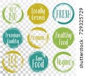 vector organic labels  bio... | Shutterstock .eps vector #729325729