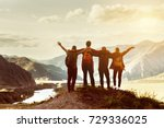 four happy friends are looking... | Shutterstock . vector #729336025