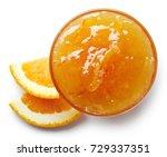 bowl of orange jam isolated on...   Shutterstock . vector #729337351