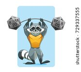 strong raccoon practice lifting ... | Shutterstock .eps vector #729337555