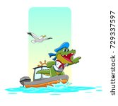 captain crocodile was riding a... | Shutterstock .eps vector #729337597